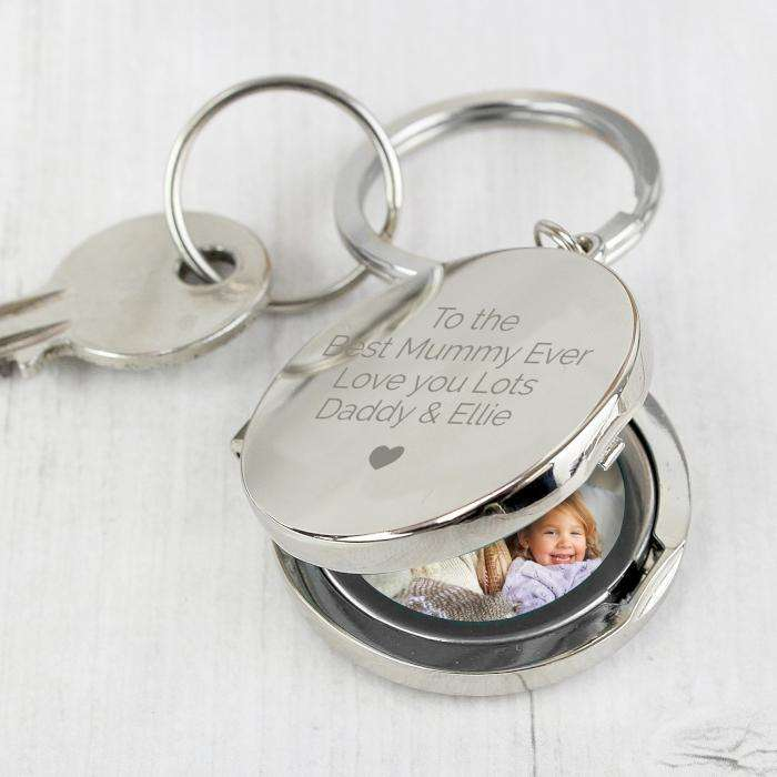 Personalised Heart Motif Round Photo Locket Keyring from Pukkagifts.uk