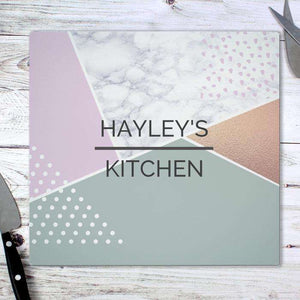 Personalised Geometric Glass Chopping Board Worktop Saver,Pukka Gifts