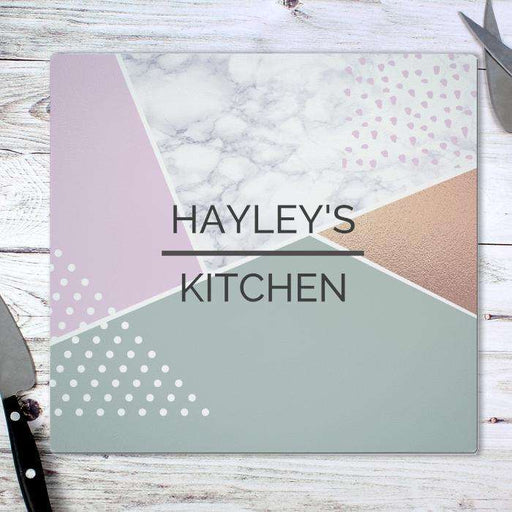 Personalised Geometric Glass Chopping Board Worktop Saver from Pukkagifts.uk