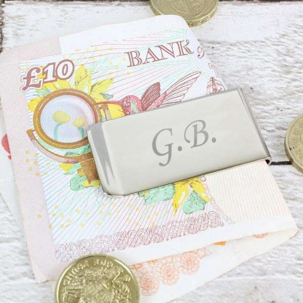 Personalised Silver Plated Initials Money Clip from Pukkagifts.uk