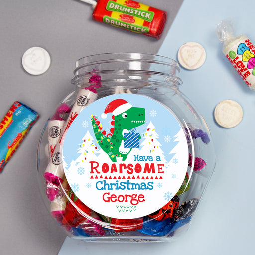 Personalised 'Have a Roarsome Christmas' Sweet Jar