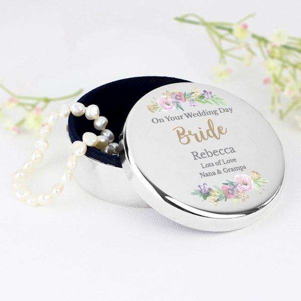 Personalised Floral Watercolour Round Trinket Box from Pukkagifts.uk