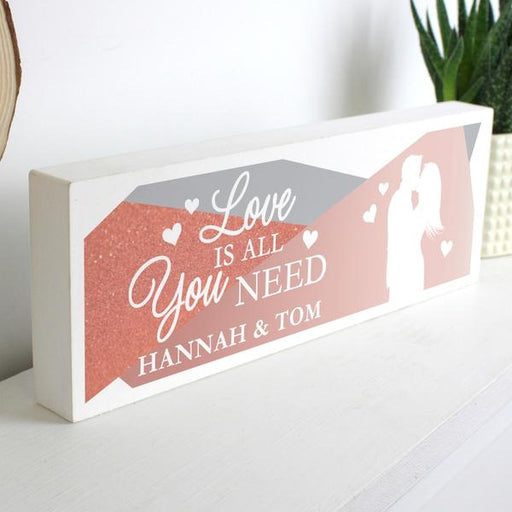 Personalised 'Love is All You Need' Wooden Block Mantel Sign from Pukkagifts.uk