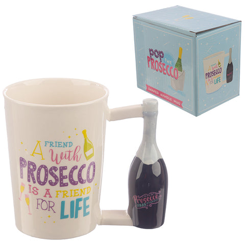 Pop the Prosecco Shaped Handle Ceramic Mug