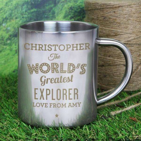 Personalised 'The World's Greatest' Metal Mug from Pukkagifts.uk
