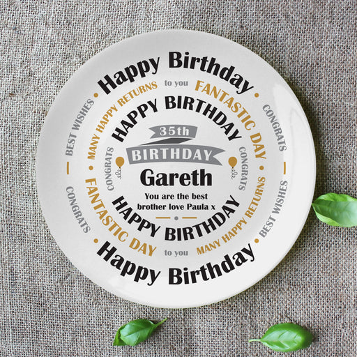 Personalised Birthday Celebration 8″ Bone China Coupe Plate