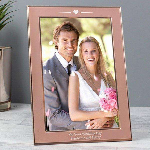 Personalised Rose Gold Heart Photo Frame 4x6 from Pukkagifts.uk