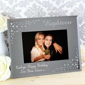 Personalised Eighteen Photo Frame Diamante 6x4 Glass from Pukkagifts.uk
