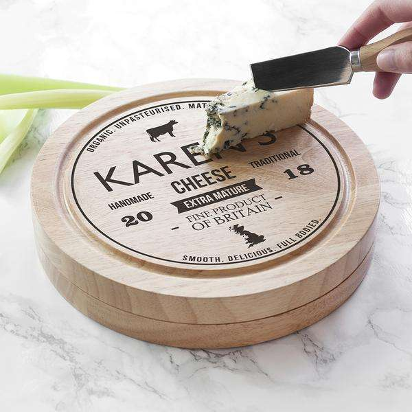 Personalised Traditional Brand Cheese Board Set from Pukkagifts.uk
