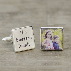 The Bestest Daddy Photo Cufflinks from Pukkagifts.uk