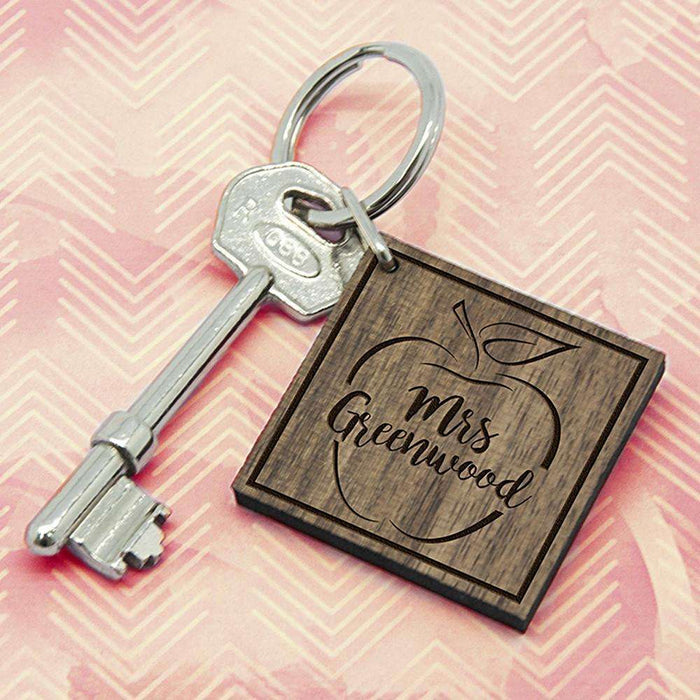 Personalised Teacher's Apple Square Keyring from Pukkagifts.uk