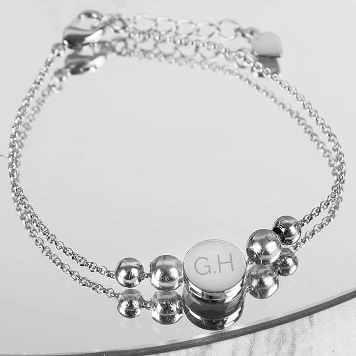 Personalised Silver Plated Initials Disc Bracelet - www.pukkagifts.uk