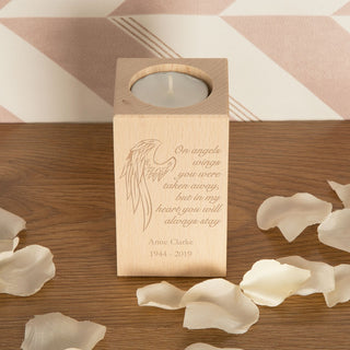 Personalised Angel Wings Memorial Wooden Tealight Holder