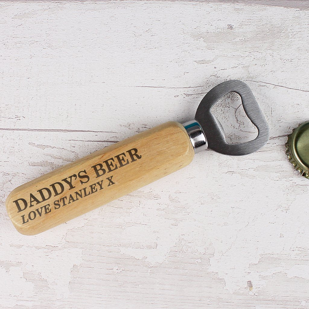 Personalised Wooden Bottle Opener from Pukkagifts.uk