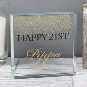 Personalised Gold Confetti Large Crystal Token from Pukkagifts.uk