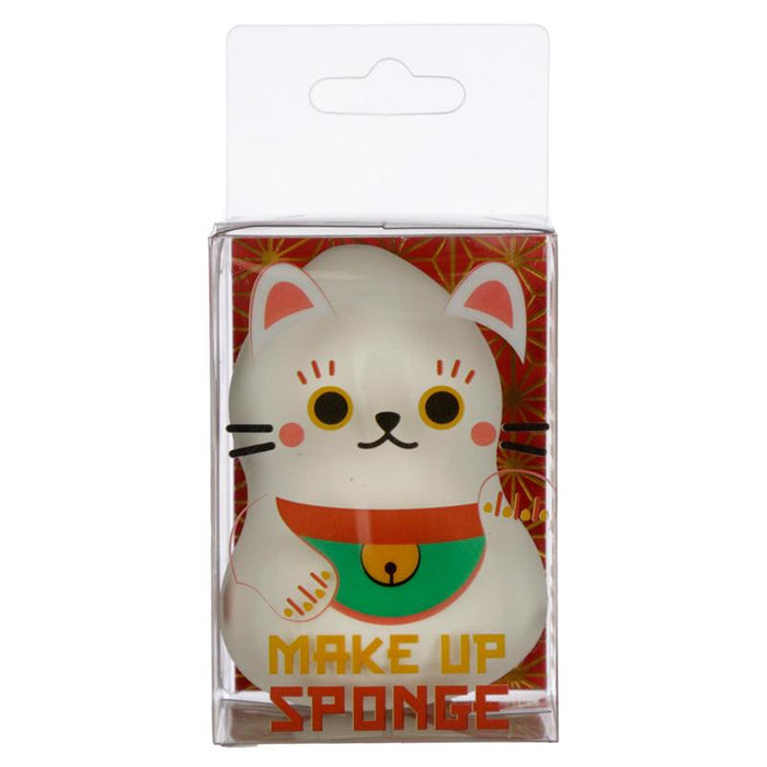 White Lucky Cat Maneki Neko Makeup Applicator Sponge