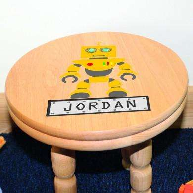Personalised Robot Wooden Stool from Pukkagifts.uk