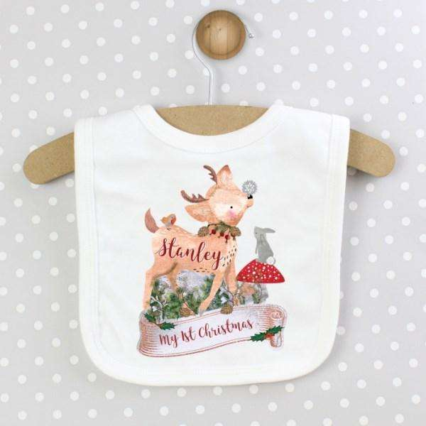 Personalised Christmas Fawn Baby Bib from Pukkagifts.uk