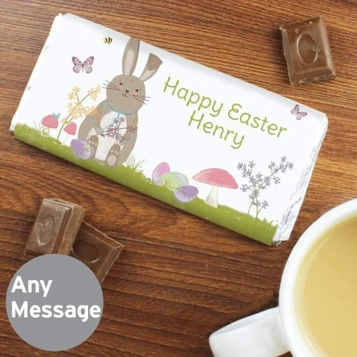 Personalised Easter Meadow Bunny Milk Chocolate Bar from Pukkagifts.uk