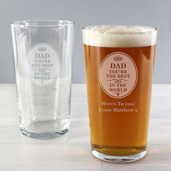 Personalised The Best in the World Pint Glass from Pukkagifts.uk