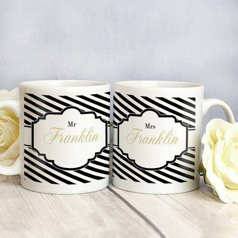 Personalised Art Deco Style Mug Set from Pukkagifts.uk