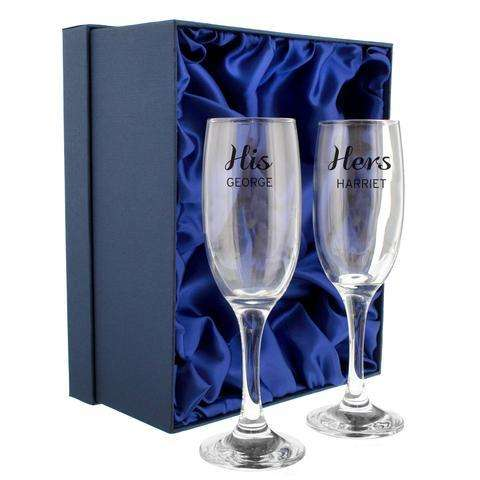 Personalised Classic Champagne Flute Set from Pukkagifts.uk