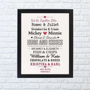Personalised Couples Framed Poster from Pukkagifts.uk