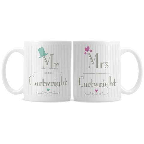 Personalised Decorative Mr and Mrs Mug Set from Pukkagifts.uk