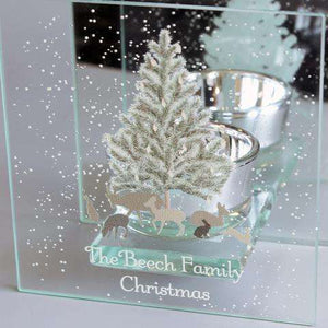 Personalised A Winter's Night Mirrored Glass Tea Light Holder from Pukkagifts.uk