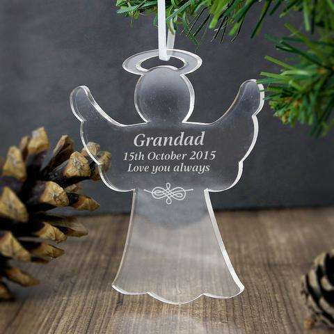 Personalised Acrylic Angel Decoration from Pukkagifts.uk