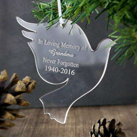 Personalised Acrylic Dove Decoration from Pukkagifts.uk