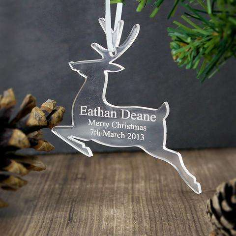 Personalised Acrylic Reindeer Decoration from Pukkagifts.uk