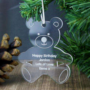 Personalised Acrylic Teddy Bear Decoration from Pukkagifts.uk