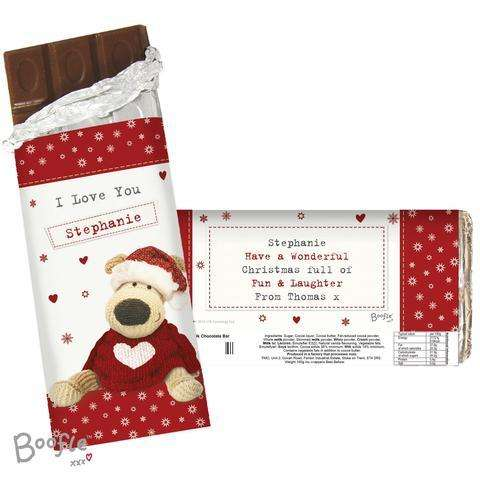 Personalised Boofle Christmas Chocolate Bar from Pukkagifts.uk