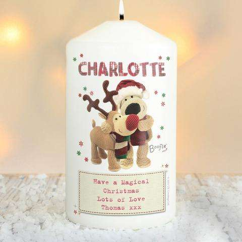 Personalised Boofle Christmas Reindeer Candle from Pukkagifts.uk