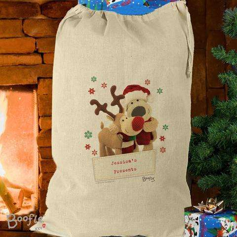 Personalised Boofle Christmas Reindeer Cotton Sack from Pukkagifts.uk