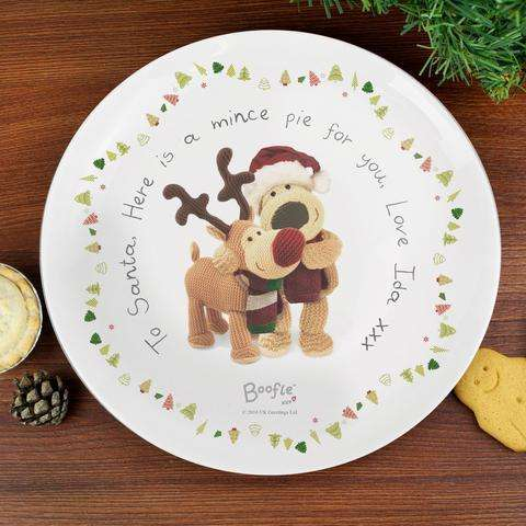 Personalised Boofle Christmas Eve Reindeer Mince Pie Plate from Pukkagifts.uk