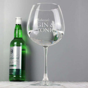 Personalised Gin And Tonic Balloon Glass from Pukkagifts.uk