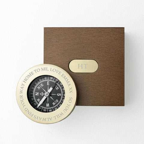 Personalised Engraved Brass Travellers Compass & Box,Pukka Gifts
