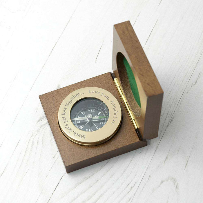 Personalised Engraved Brass Travellers Compass & Box from Pukkagifts.uk