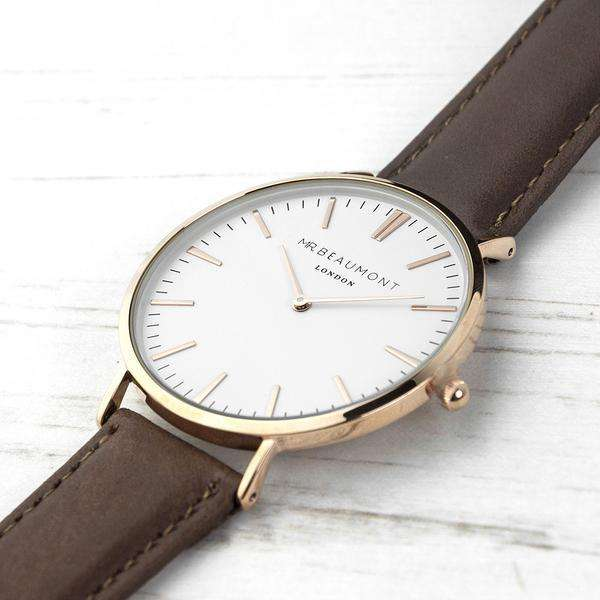 Elie Beaumont - Men's Modern-Vintage Personalised Leather Watch In Brown from Pukkagifts.uk