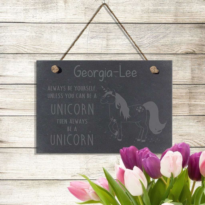 Always Be A Unicorn Slate Sign- A perfect gift for UNICORN lovers! from Pukkagifts.uk