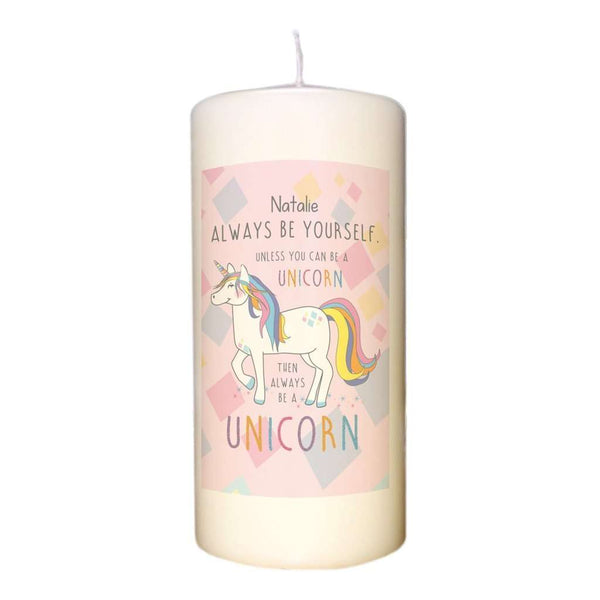 Always Be A Unicorn Pillar Candle- A perfect gift for UNICORN lovers! from Pukkagifts.uk