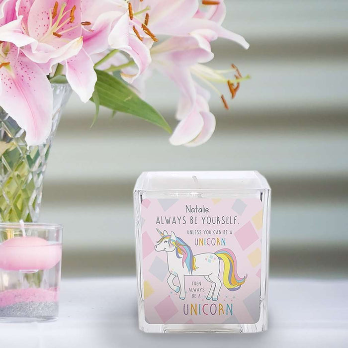 Always Be A Unicorn Square Scented Candle - A perfect gift for UNICORN lovers! from Pukkagifts.uk