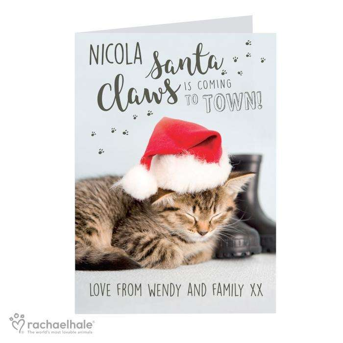 Personalised Rachael Hale Santa Claws Christmas Cat Card from Pukkagifts.uk