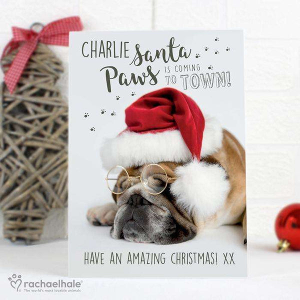 Personalised Rachael Hale Santa Paws Christmas Bulldog Card from Pukkagifts.uk