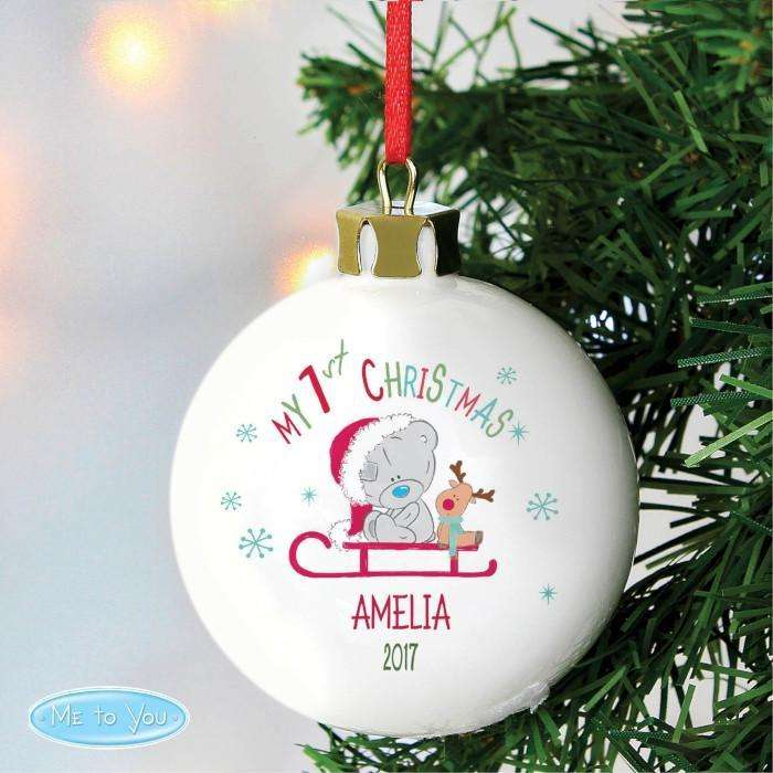 Personalised Tiny Tatty Teddy My 1st Christmas Sleigh Bauble from Pukkagifts.uk