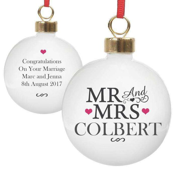 Personalised Mr & Mrs Bauble from Pukkagifts.uk