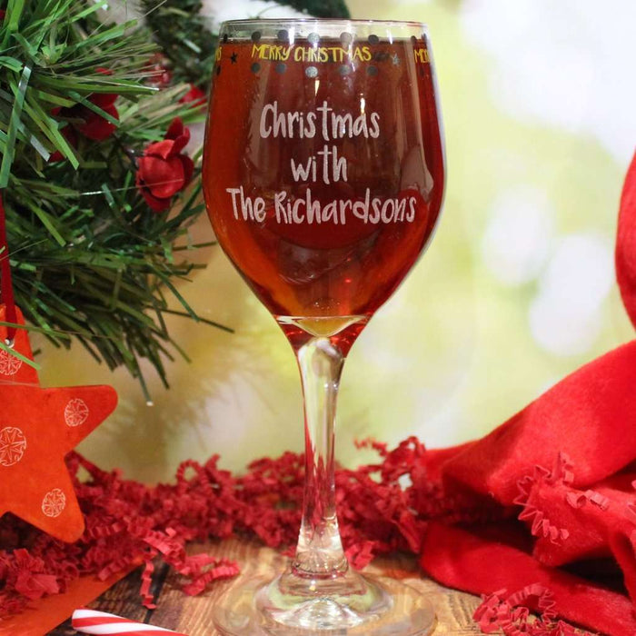 Personalised Merry Christmas Wine Glass from Pukkagifts.uk