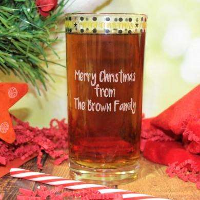 Personalised Merry Christmas Hi Ball Glass from Pukkagifts.uk